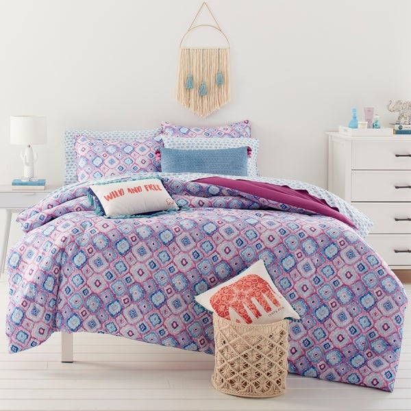 Ivory Ella Leah Bright Purple Comforter Set. Opens flyout.