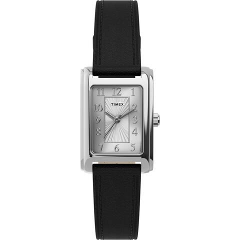 Timex Women's TW2U06200 Meriden Black/Silver Leather Strap Watch