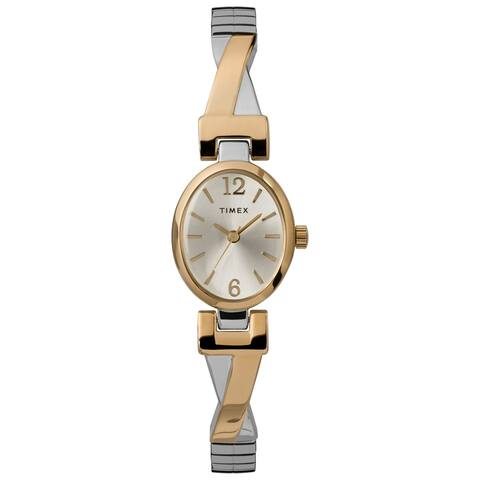 Timex Women's TW2U12100 Fashion Stretch Bangle 21mm Two-Tone Watch