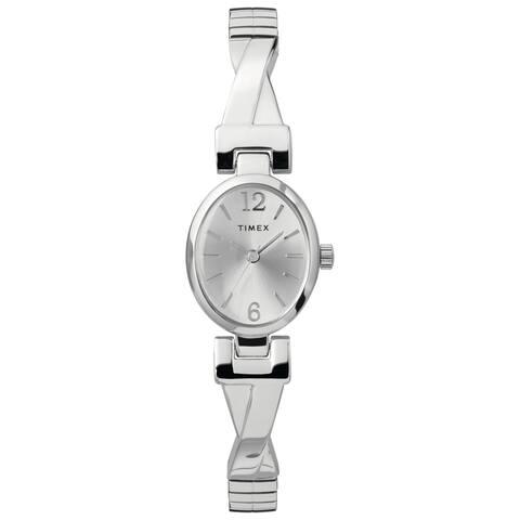 Timex Women's TW2U12200 Fashion Stretch Bangle 21mm Silver-Tone Watch