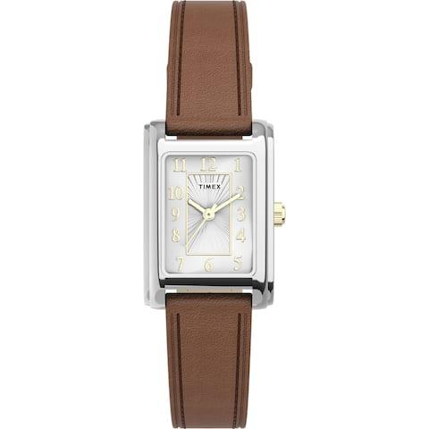 Timex Women's TW2U06100 Meriden Dark Brown/Silver Leather Strap Watch