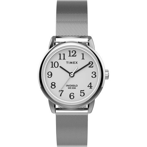 Timex Women's TW2U07900 Easy Reader 25mm Silver-Tone Mesh Watch - N/A