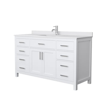 Beckett 60-Inch Single Vanity, White Cultured Marble Top, No Mirror