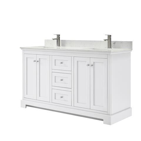 Ryla 60-Inch Double Vanity, Carrara Cultured Marble Top, No Mirror
