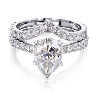 Link to Annello by Kobelli 14k Gold 3 1/10ct TGW Pear Moissanite and Natural Diamond Chevron Band (V-Shaped) Bridal Set Similar Items in Rings