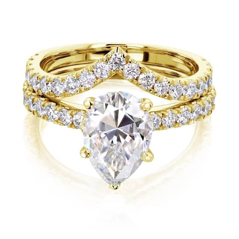Annello by Kobelli 14k Gold 3 1/10ct TGW Pear Moissanite and Natural Diamond Chevron Band (V-Shaped) Bridal Set