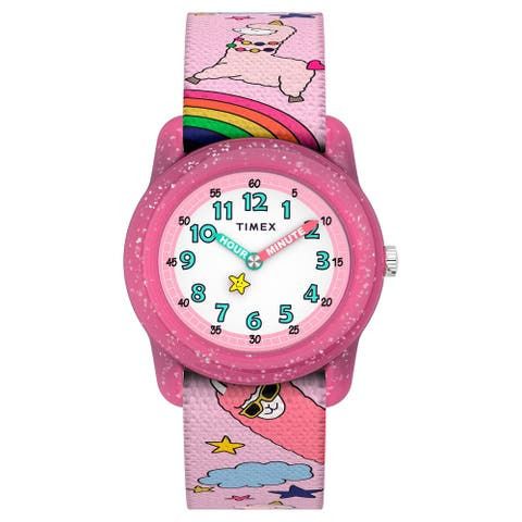 Timex Girls TW7C83800 Time Machines Analog 28mm Pink Llamacorns Elastic Fabric Strap Watch