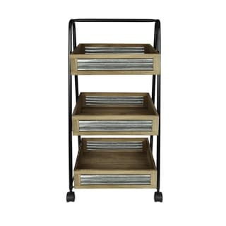 Rustic Wood and Metal Storage/Serving Cart