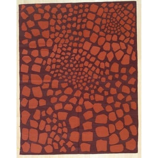 Orange Contemporary Modern Flat Weave Rug, 6' x 8' - 6' x 8'