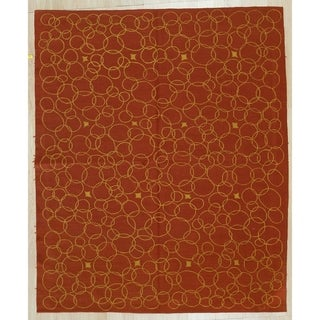 Red Contemporary Modern Flat Weave Rug, 6' x 8' - 6' x 8'