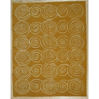 Gold Contemporary Modern Flat Weave Rug, 8' x 12' - 8' x 12'