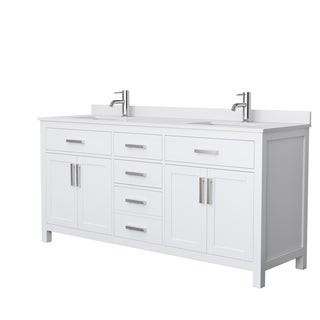 Beckett 72-Inch Double Vanity, White Cultured Marble Top, No Mirror