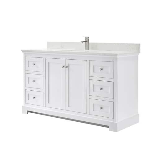 Ryla 60-Inch Single Vanity, Carrara Cultured Marble Top, No Mirror