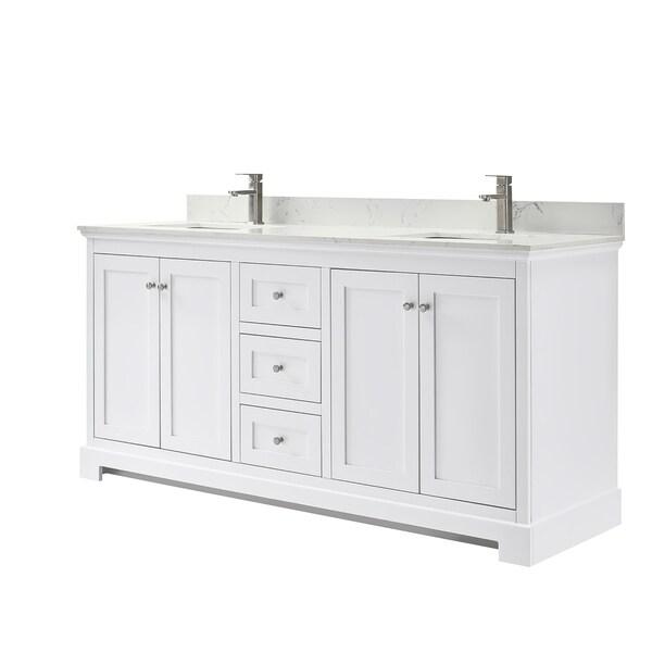 Ryla 72-Inch Double Vanity, Carrara Cultured Marble Top, No Mirror