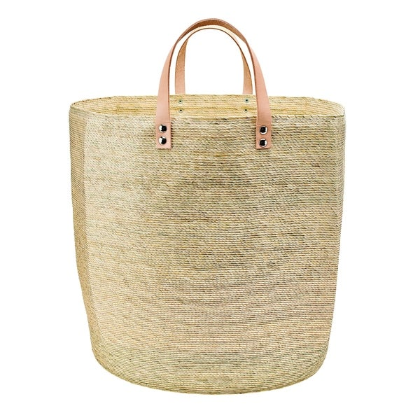 BSH1024- Home PALM STRAW BASKETS W/ LEATHER HANDLES SMALL