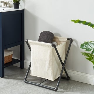 Furniture of America Linley Sand Black Laundry Hamper