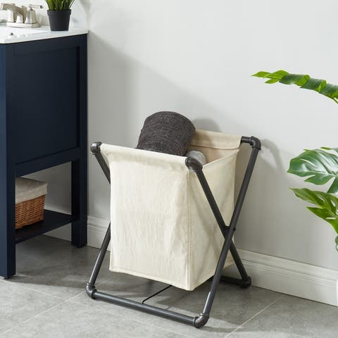 Furniture of America Linley Sand Black Laundry Hamper