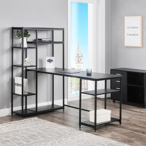 Porch & Den Owens Office Computer Desk with Multiple Storage Shelves