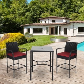 Kinbor 3-piece Patio Bar Set, Wicker Bar Stools & Table Set, Outdoor Bar Height Bistro Set, Patio High Back Chairs & Table