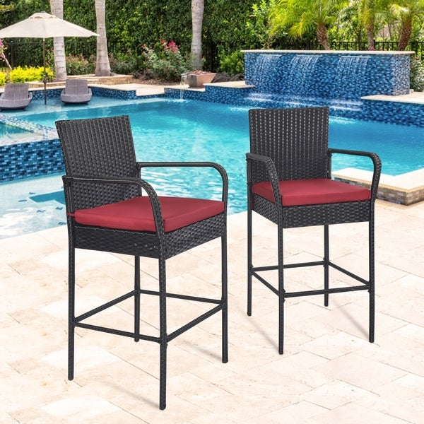 Kinbor Set of 2 Wicker Bar Stools, Bar Height Patio Chairs, Outdoor Furniture High Back Chairs w/ Cushions