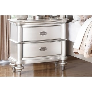 Antique Silver Wood Nightstand 2-Drawer