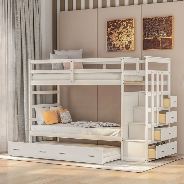 Merax Twin Over Twin Bunk Bed Frame with Trundle and Staircase