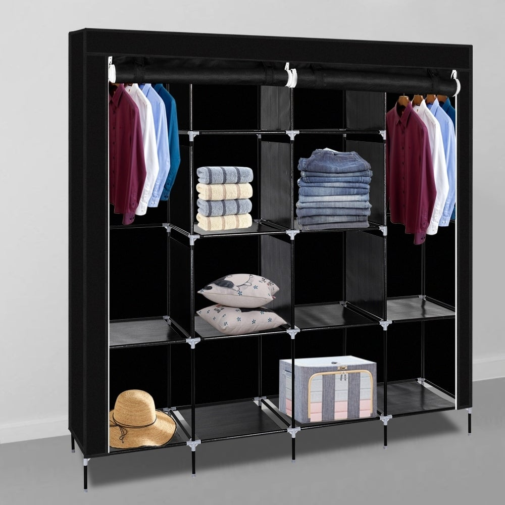 "Gray 69 /"" Closet Wardrobe Clothes Organizer Non-woven Fabric Storage Rack Unit"
