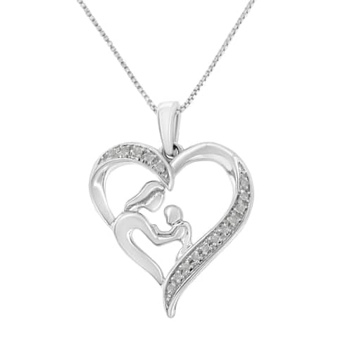 Sterling-Silver 1/10ct TDW Diamond Heart and Mother Pendant Necklace (I-J, I3-Promo)