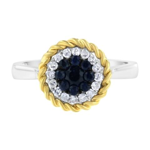 18K Two-Tone Gold Diamond and Created Blue Sapphire Cocktail Ring (H-I, I2-I3)