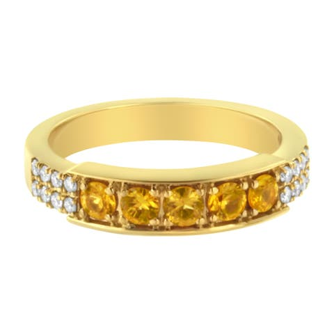 18K Yellow Gold Diamond Accent and Created Yellow Sapphire Band Ring (H-I, I3)