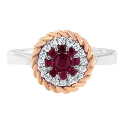 18K Two-Tone Gold Diamond and Created Ruby Cocktail Ring (H-I, I1-I2)