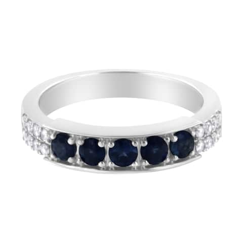 18K White Gold Lab Created Blue Sapphire and Diamond Accent Band Ring (H-I, I3)
