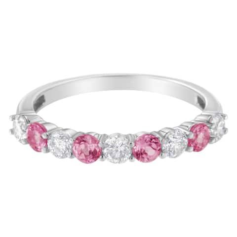 10K White Gold 1/2ct Diamond and 3MM Pink Sapphire Gemstone Band Ring(H-I,I1-I2)
