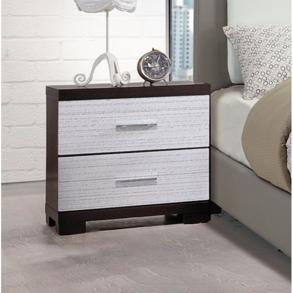 Rubber Wood Nightstand 2-Drawer