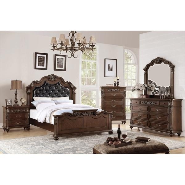 Brown Wood 3-Drawer Nightstand