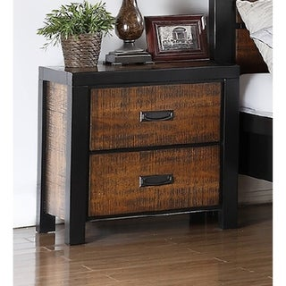 Wood Finish Dark Accent Trim Nightstand