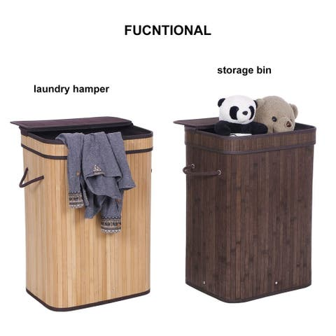 Flip Type Bamboo Folding Basket Body Black