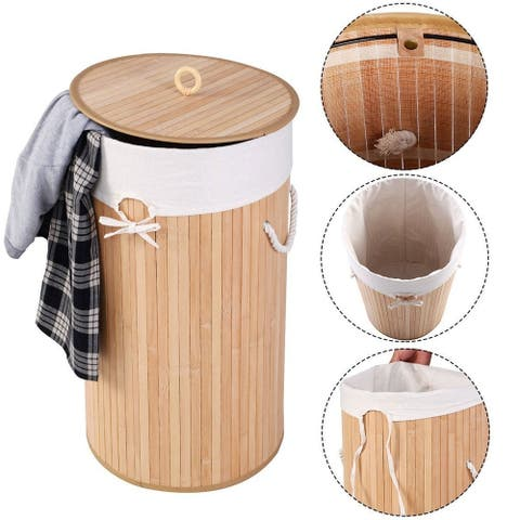 Barrel Type Bamboo Folding Basket Body with Cover