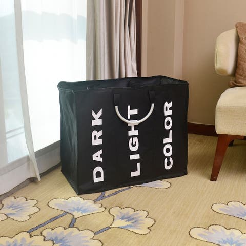 Portable Three Lattice Large Capacity Laundry Basket Black