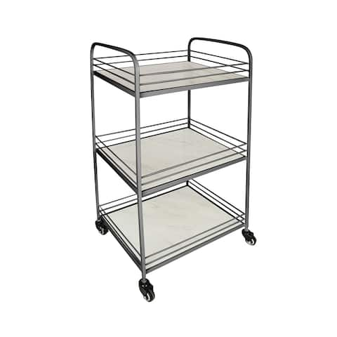 DesignStyles 3 Shelf Metal Cart with Tile Shelves and Wheels