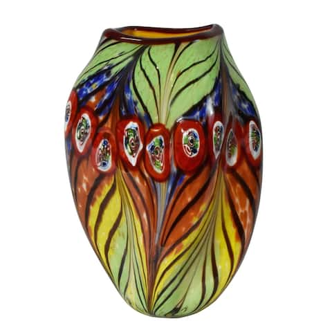 Peacock Feather Hand Blown Art Glass Vase