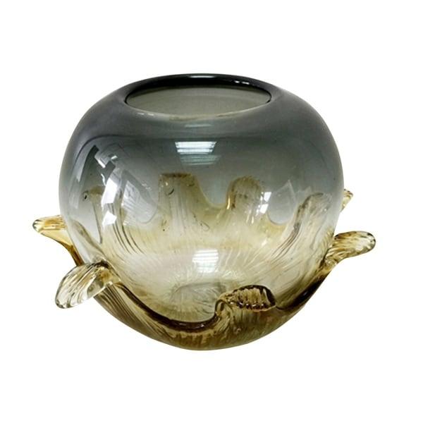 Amber Leaf Hand Blown Art Glass Vase. Opens flyout.