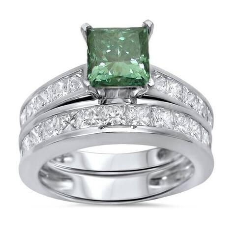 14k Gold 2 4/5ct TDW Princess-cut Green Diamond Engagement Ring Wedding Set