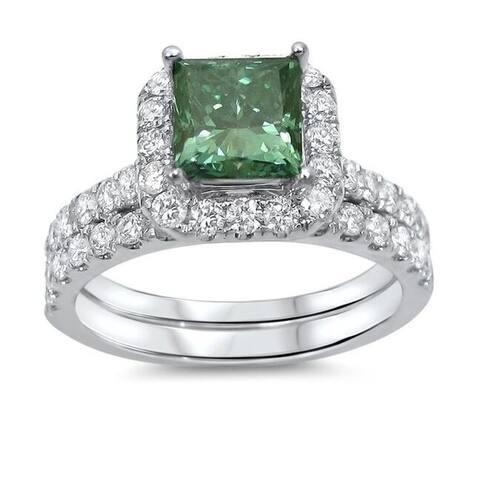 18k Gold 1 9/10ct TDW Princess-cut Green Diamond Engagement Ring Wedding Set