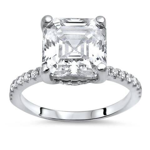 14k Gold 2 1/4 ct Asscher Moissanite Center 1/4 ct Diamond Surrounding Engagement Ring 8mm