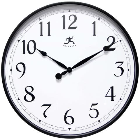 Black Office Clock Large Easy to Ready 18 inch Simple Wall Clock
