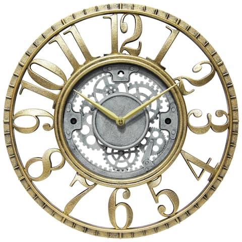 Roman Gear 15 inch Decorative Round Wall Clock - Gold & Silver