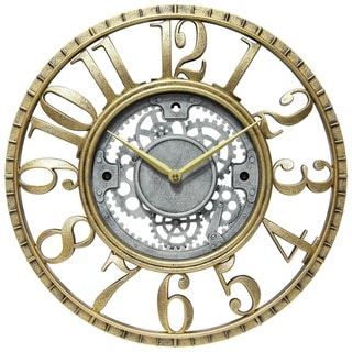 Link to Roman Gear 15 inch Decorative Round Wall Clock - Gold & Silver Similar Items in Decorative Accessories