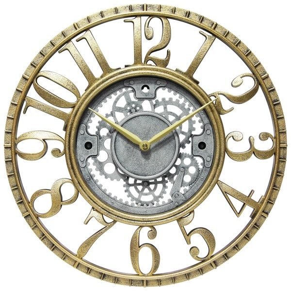 Roman Gear 15 inch Decorative Round Wall Clock - Gold & Silver. Opens flyout.