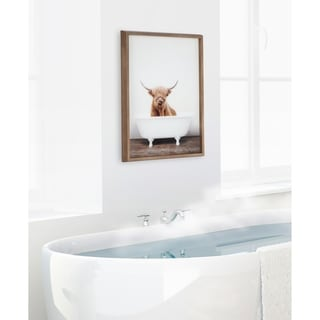 Kate and Laurel Blake Cow in Tub Framed Printed Glass by Amy Peterson